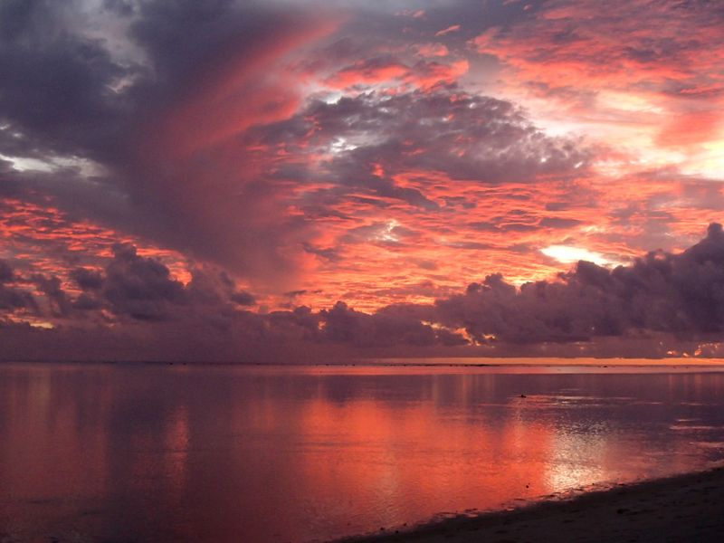 ile cook coucher de soleil mer aitutaki sunset