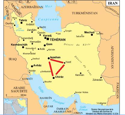 Carte d'un itinéraire en Iran en independant
