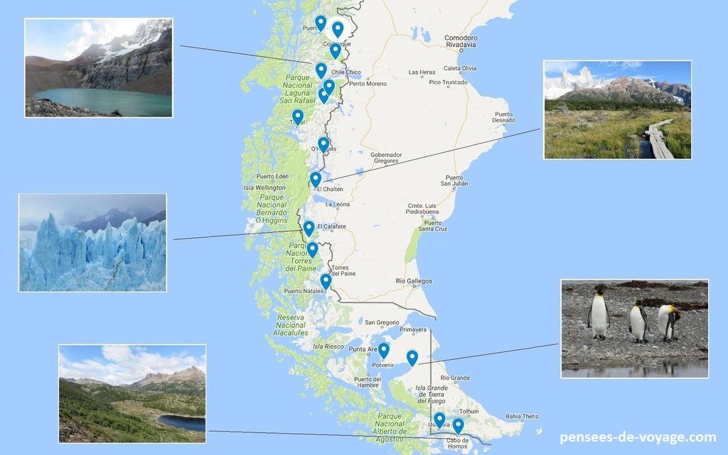 patagonie itineraire carte touristique