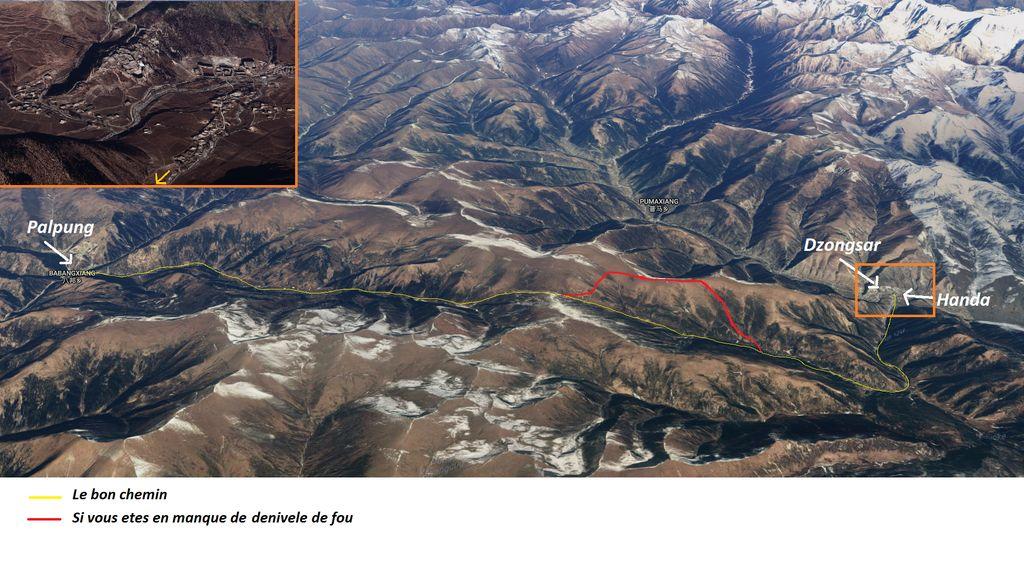 carte map trek dzongsar palpung tibet