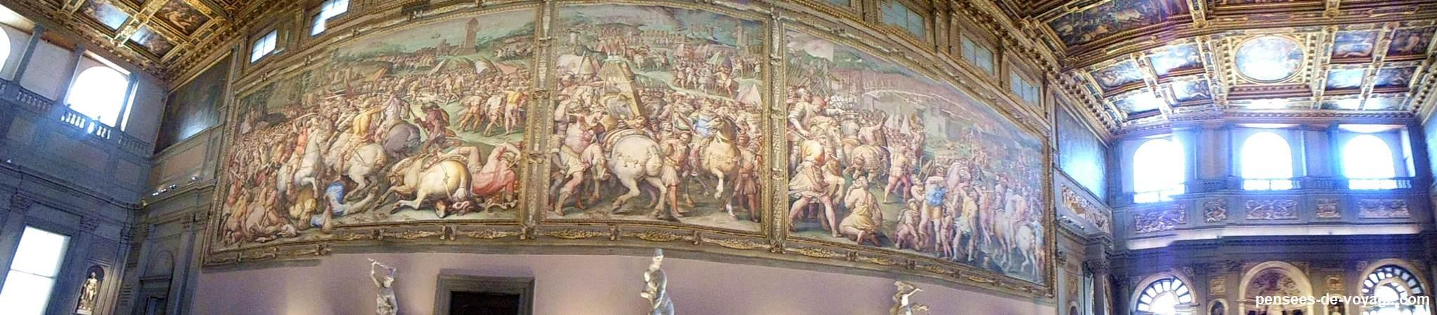 Peintures de batailles au palais Vecchio