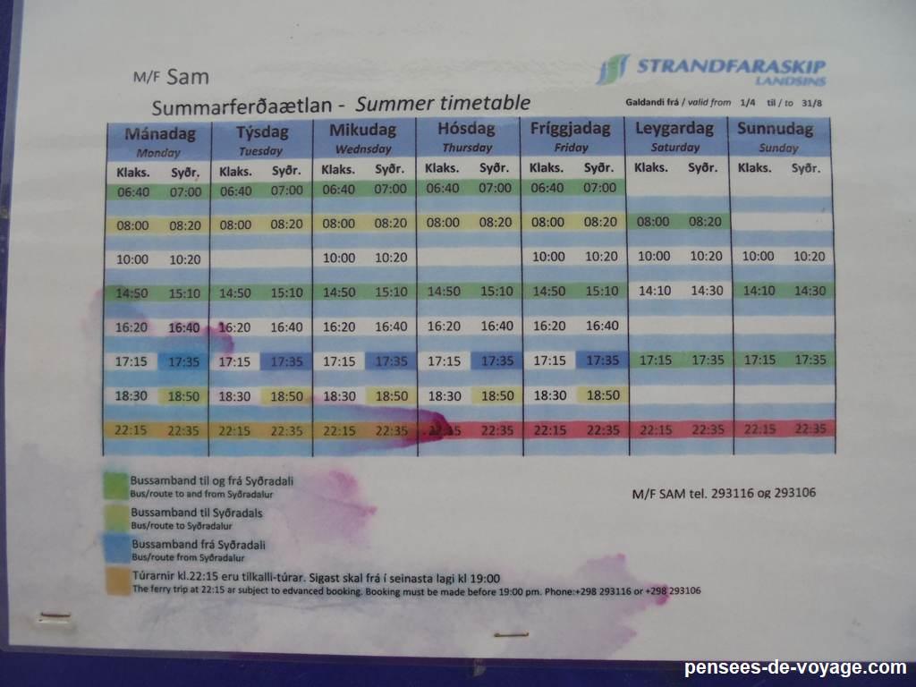 bateau schedule