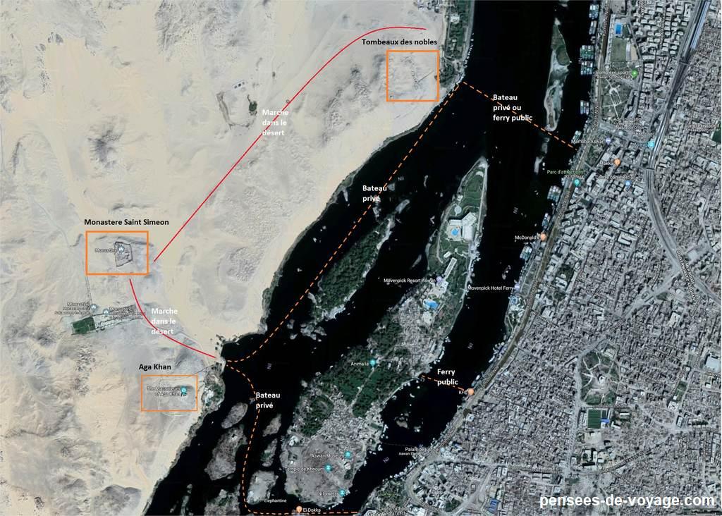 carte touristique assouan traverser en bateau de aga khan au tombes des nobles