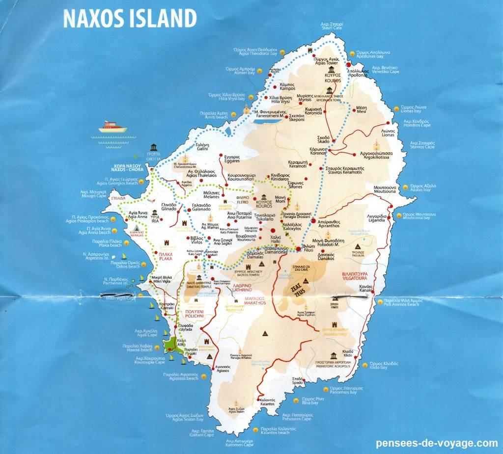 tour bus carte touristique naxos
