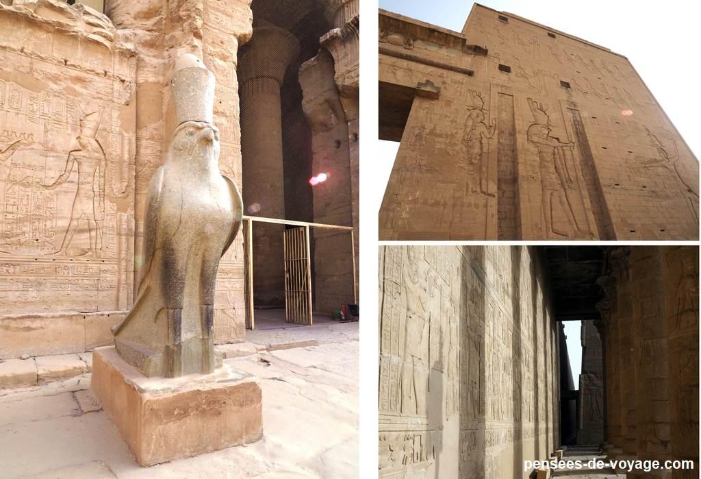 plusieurs image de l'extérieur du temple d'horus
