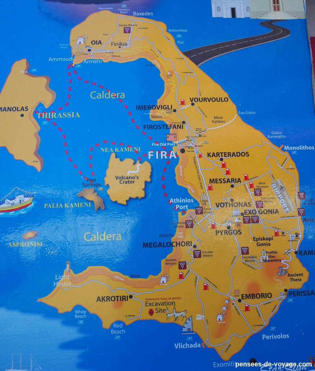 carte touristique quoi faire a Santorin