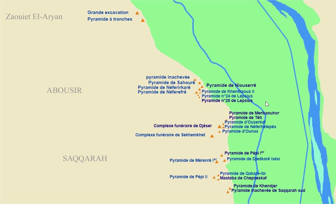 Carte des pyramide d'egypte - saqqara