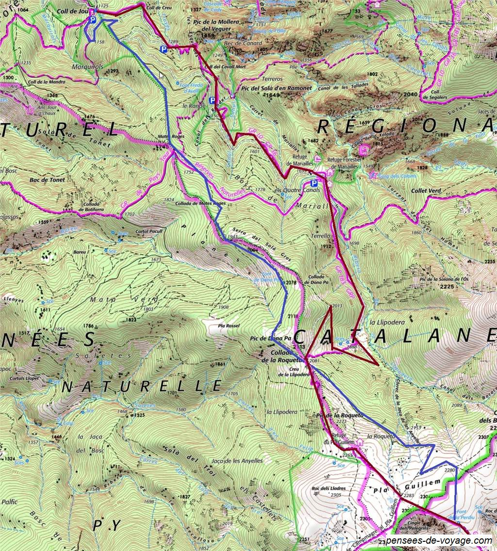 Carte de la randonnee Cal de Jou au Pla Guillem
