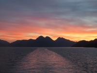 Traversée Chiloe - coucher du soleil