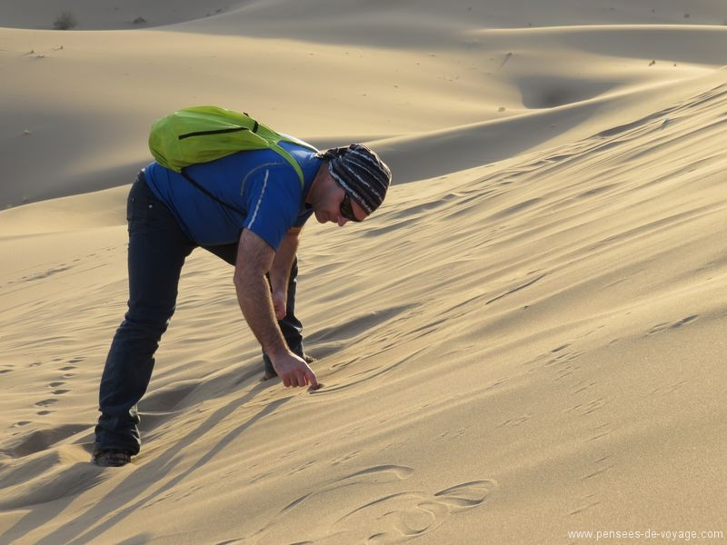 dessin dans les dunes de sable